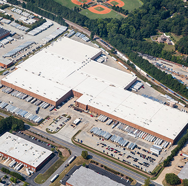 Aerial view of ABW2500 warehouse and parking lot