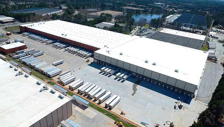 Aerial view of ABW3000 warehouse with expansion