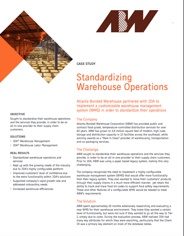 JDA WMS White Paper: Standardizing Warehouse Operations White Paper